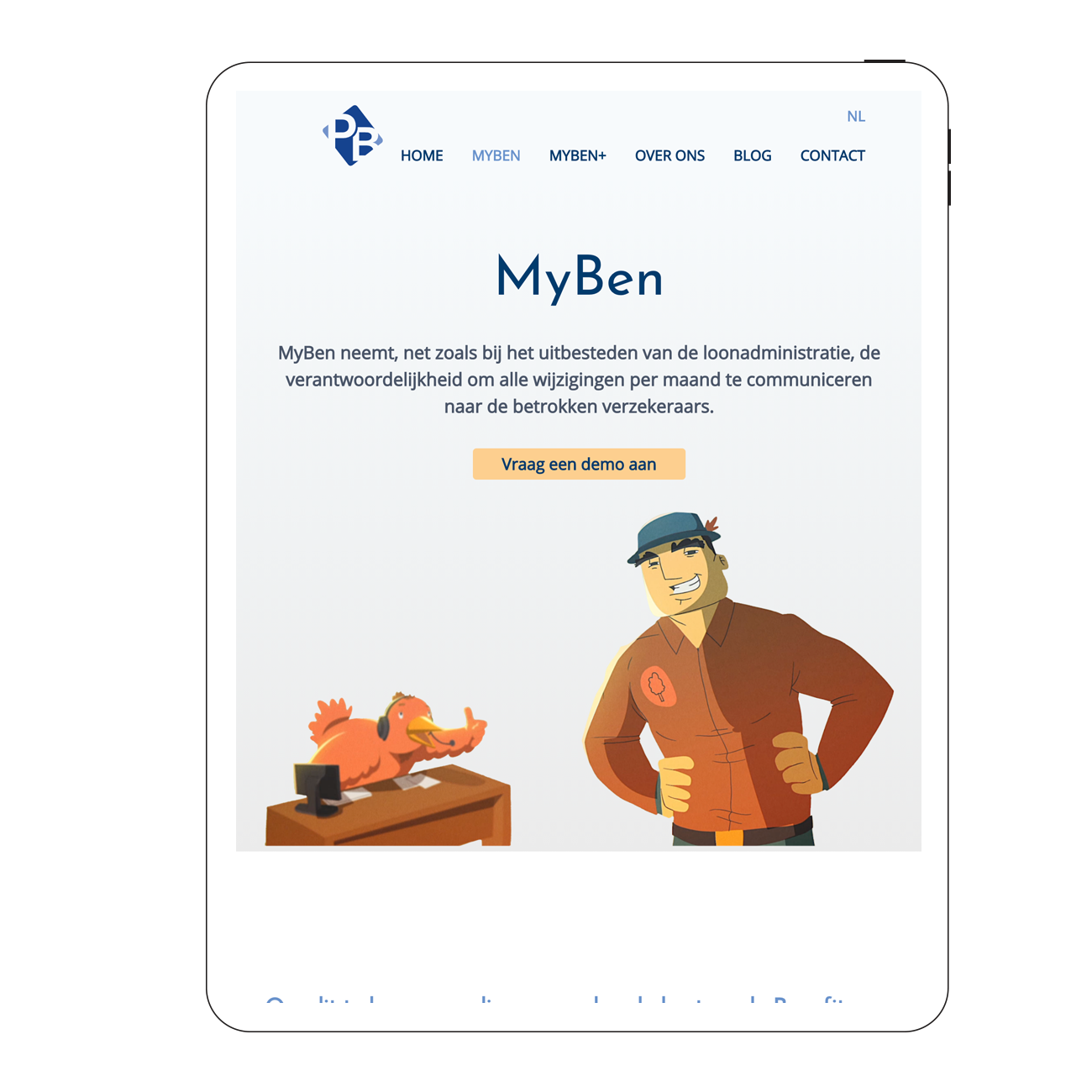 Partner in Benefits nieuwe website responsive iPad portrait